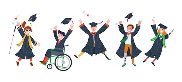 Happy disabilita gli studenti di sesso e nazionalità diverse saltando di gioia. illustrazione Vettore Premium