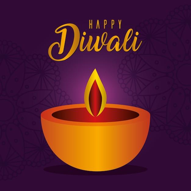 Candela diwali felice su viola con disegno di sfondo mandala, tema festival delle luci