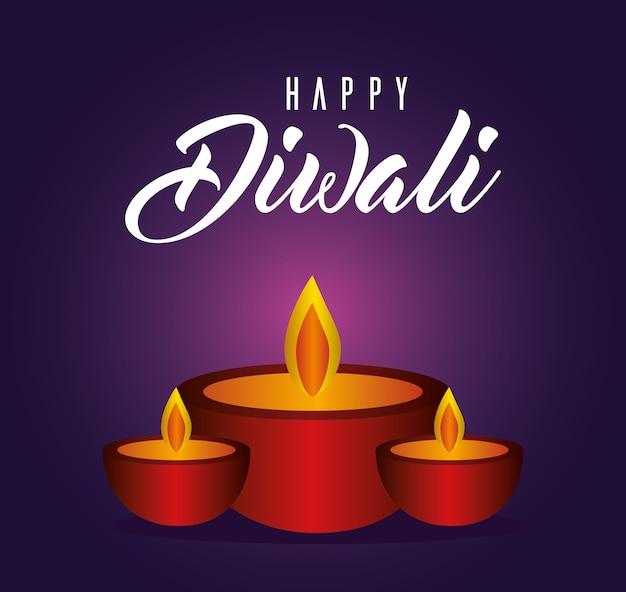 Candele diwali felici su sfondo viola design, tema festival delle luci