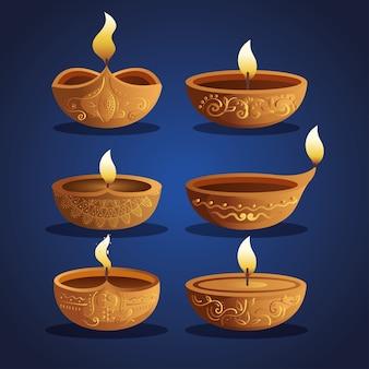 Candele diwali felici messe sull'azzurro
