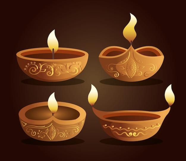 Candele diwali felici messe su colore marrone