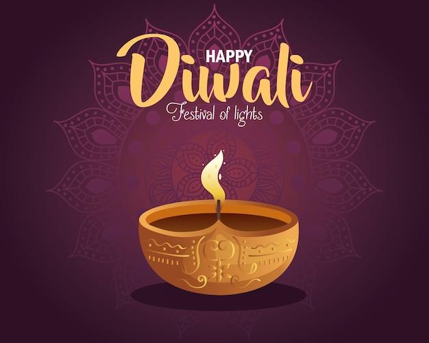 Carta di diwali felice con candela e mandala su viola