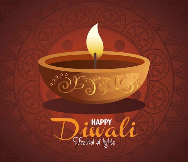 Carta di diwali felice con candela e mandala sul rosso