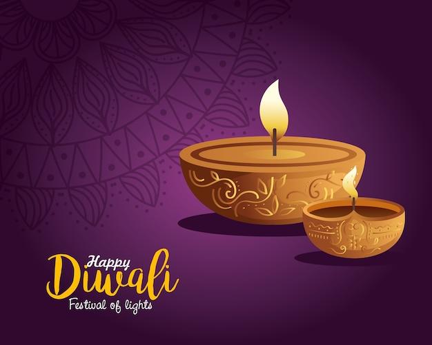 Carta di diwali felice con candele e mandala su viola