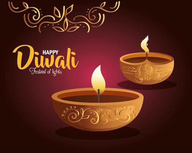 Carta di diwali felice con candele e ornamento su viola