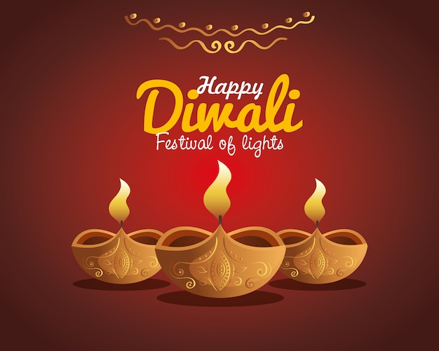 Carta di diwali felice con candele con ornamento sul rosso