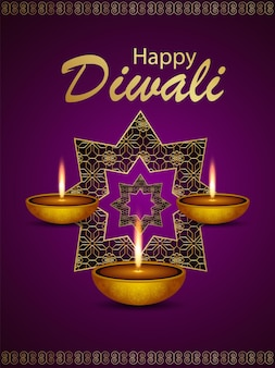 Fondo felice di celebrazione di diwali con diali diya sul fondo del modello