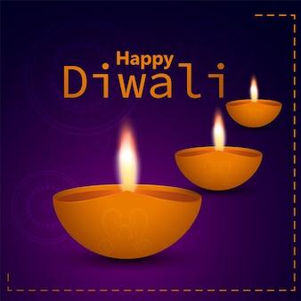 Fondo felice di celebrazione di diwali con diwali diya