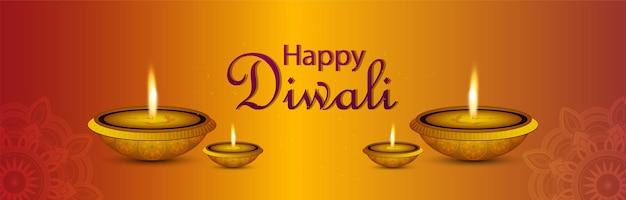 Banner di celebrazione di diwali felice con diwali diya creativo