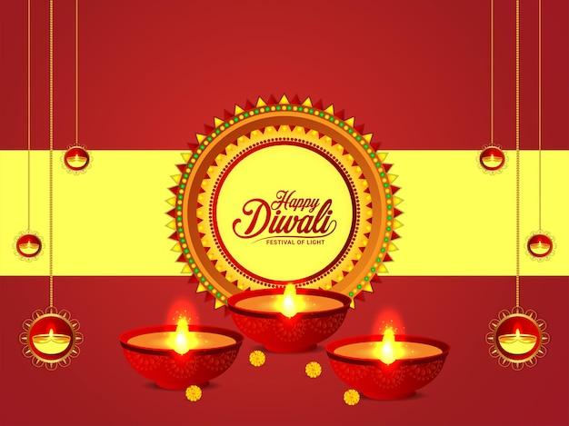 Banner di celebrazione di diwali felice con diwali diya realistico