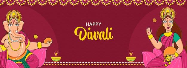 Concetto di celebrazione di diwali felice con lord ganesha e dea lakshmi carattere su baclground rosso.