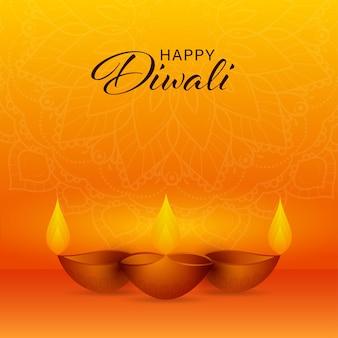Felice diwali celebrazione concetto con realistiche lampade a olio illuminate (diya) su sfondo arancione modello mandala.