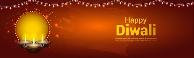 Volantino di celebrazione di diwali felice con diwali diya