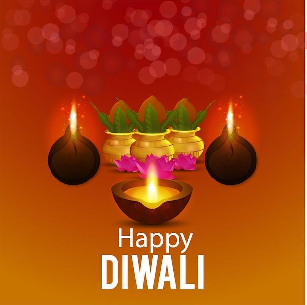 Cartolina d'auguri felice celebrazione diwali con vaso luminoso creativo e diwali diya