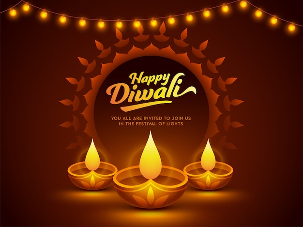 Happy diwali celebration poster design con lampade a olio illuminate (diya)