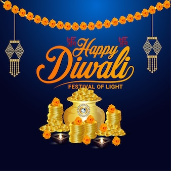 Felice diwali celebrazione poster o cartolina d'auguri design