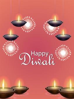 Manifesto di celebrazione di diwali felice con illustrazione vettoriale di diwali diya