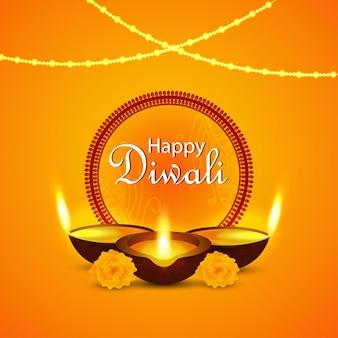 Felice celebrazione del diwali illustrazione vettoriale su sfondo creativo