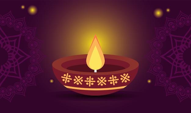Felice celebrazione di diwali con candela in legno in sfondo viola