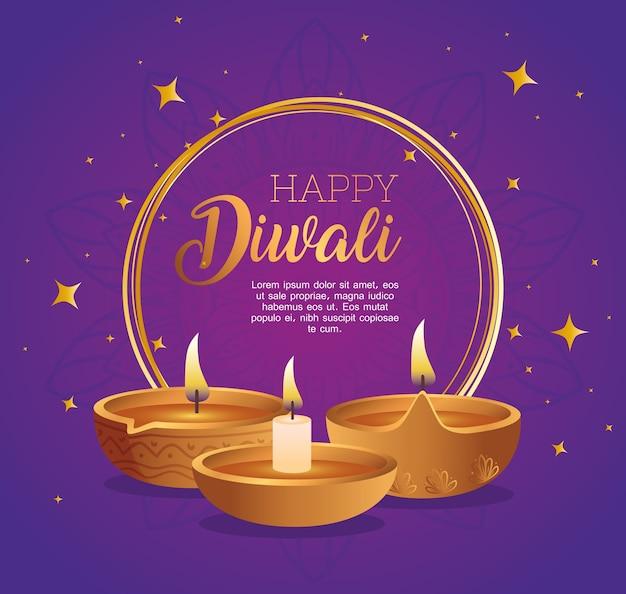 Diwali felice in cerchio con design di candele diya, tema festival delle luci