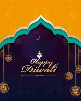 Felice design diwali con decorazioni appese sullo sfondo della moschea