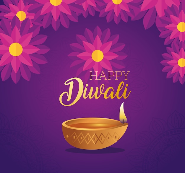 Candela felice diwali diya con disegno di fiori, tema festival delle luci