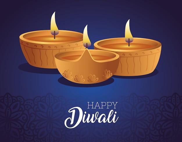 Felice diwali diya candele design, festival delle luci a tema