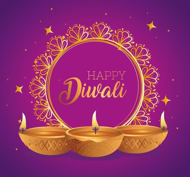 Felice diwali diya candele davanti al disegno dell'ornamento del cerchio, tema festival delle luci