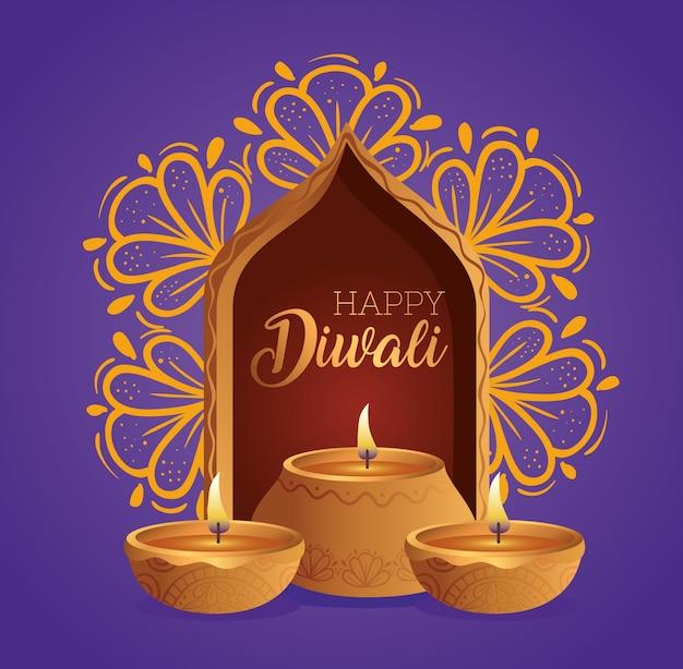 Candele di diwali diya felici davanti al design della finestra, tema festival delle luci