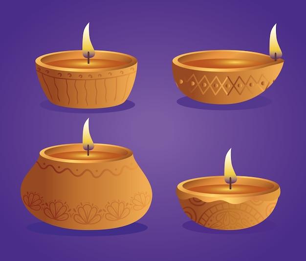 Candele di diwali diya felici scenografia, tema festival delle luci