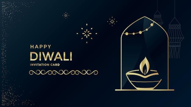 Happy diwali festival biglietto di auguri design con lampada a olio lampada a sospensione light festival india