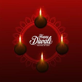 Felice diwali festival di luce biglietto di auguri invito con lampada a olio creativa diwali diya