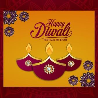 Buon diwali festival della luce con illustrazione e sfondo creativi