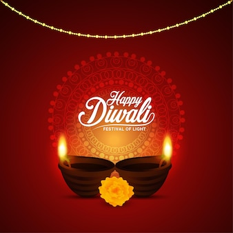 Felice diwali il festival della luce con illustrazione vettoriale creativo di diwali diya