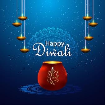 Felice festival delle luci di diwali con diya creativo e ganesha dorato