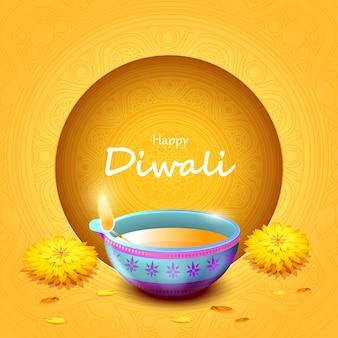 Felice festa di diwali con lampada a olio, celebrazione diwali
