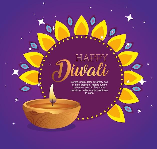 Diwali felice sul fiore con design a candela diya, tema festival delle luci