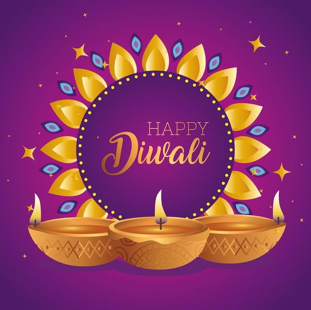 Diwali felice sul fiore con design di candele diya, tema festival delle luci