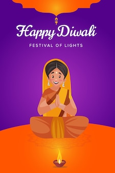 Felice diwali flyer e poster con la donna sta adorando