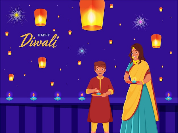 Felice diwali greeting card design