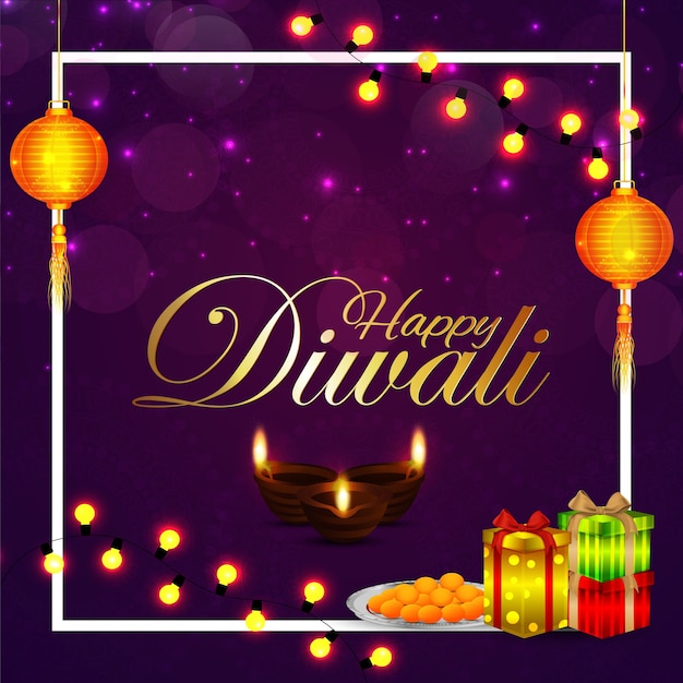 Cartolina d'auguri di diwali felice