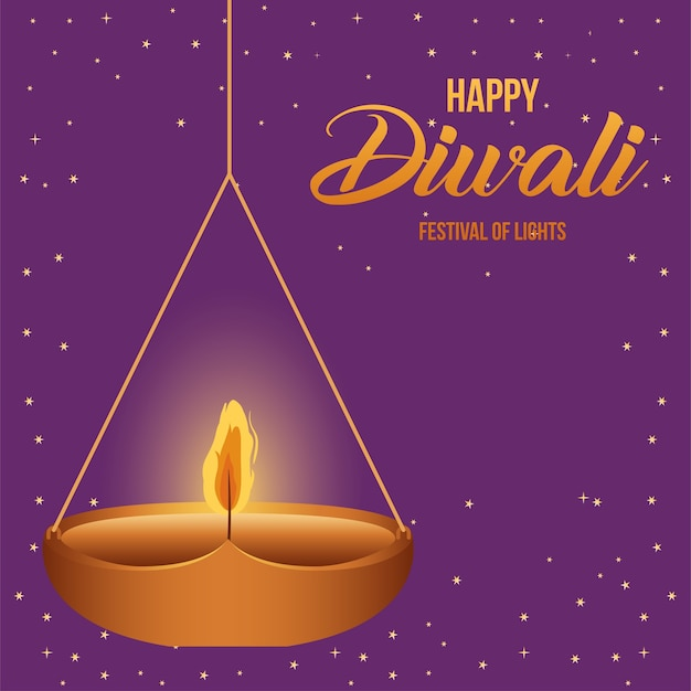 Candela d'attaccatura felice di diwali su progettazione porpora del fondo, tema del festival delle luci.