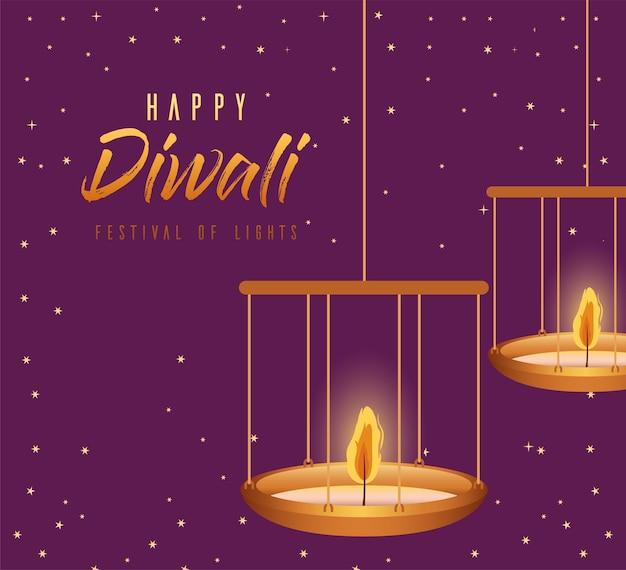 Felice diwali candele appese su sfondo viola design, festival delle luci a tema.
