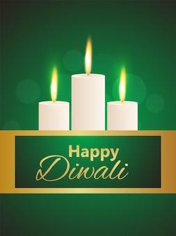 Felice diwali festival indiano sfondo con candela accesa