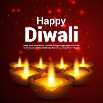 Cartolina d'auguri di celebrazione del festival indiano diwali felice con diwali diya Vettore Premium
