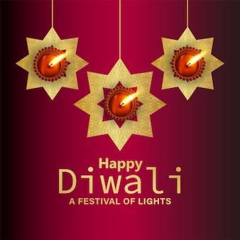Felice biglietto di auguri festival indiano diwali con diya realistico