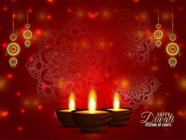 Buon diwali festival indiano della carta celebrazione della luce