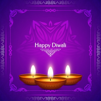 Felice diwali indian festival viola colore sfondo design