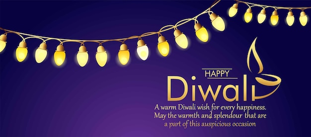 Cartoline di auguri di lusso happy diwali con lampade diya dorate banner di vendita astratto grand diwali dhamaka