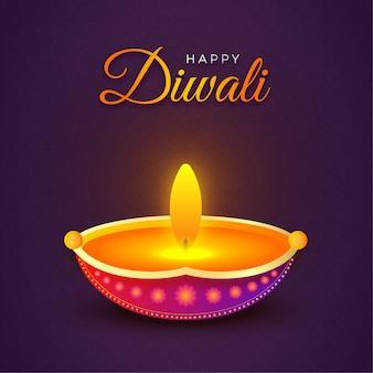 Felice lampada a olio diwali su sfondo viola design festival di tema luci